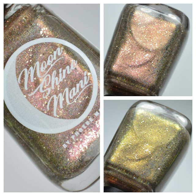 champagne nail polish collage in a bottle with three lightings