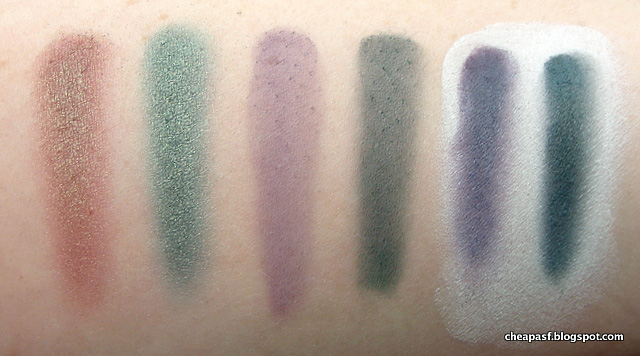 Swatches of Makeup Geek Ritzy, Typhoon, Fairytale and Time Travel
