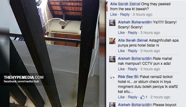Saya Mendapati Seorang Kakitangan Avillion Hotel Group Telah Mengintai Yang Sedang Mandi Kami Menginap Di Water Chalet Bilik 329