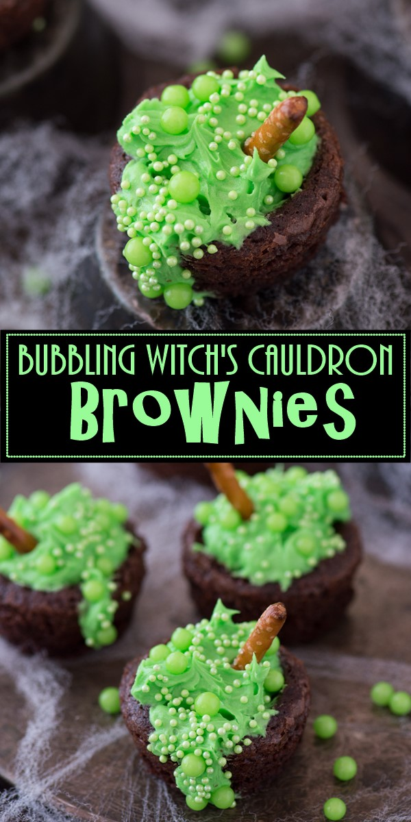 Bubbling Witch's Cauldron Brownies #halloweenrecipes