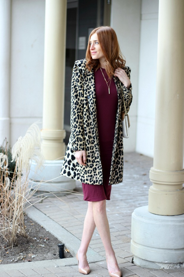 Burgundy dress, leopard coat, nude Louboutins