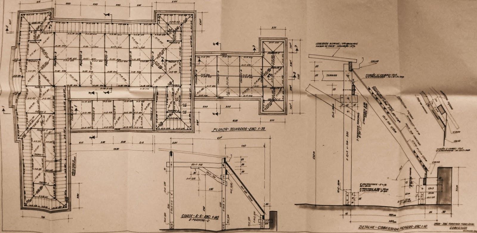 Planta geral de cobertura com detalhes técnicos desenhados por Sneiders.