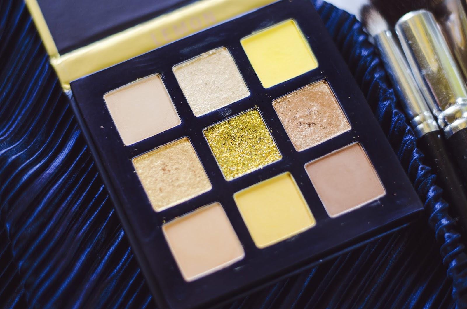 Beauty Glazed cruelty free 2020 LEMON yellow eyeshadow palette detail
