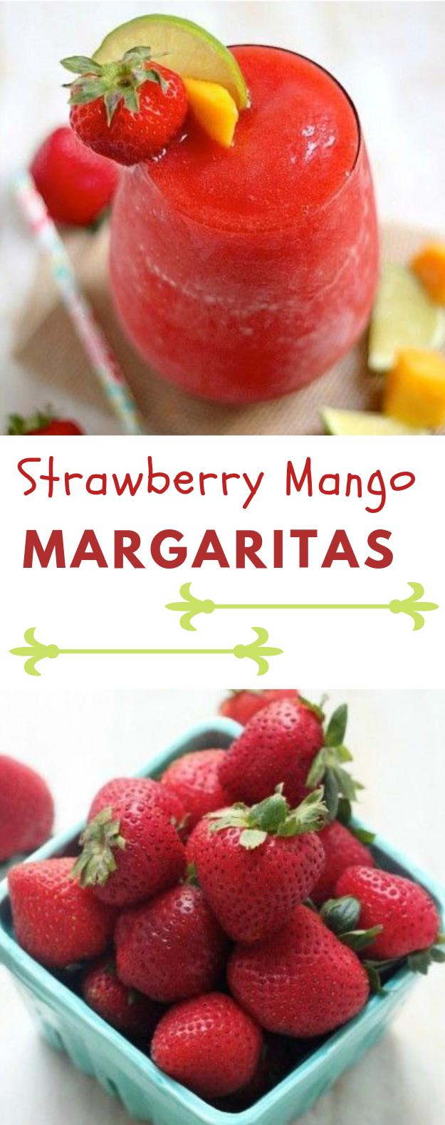Strawberry Mango Margaritas #healthydrink #margaritas
