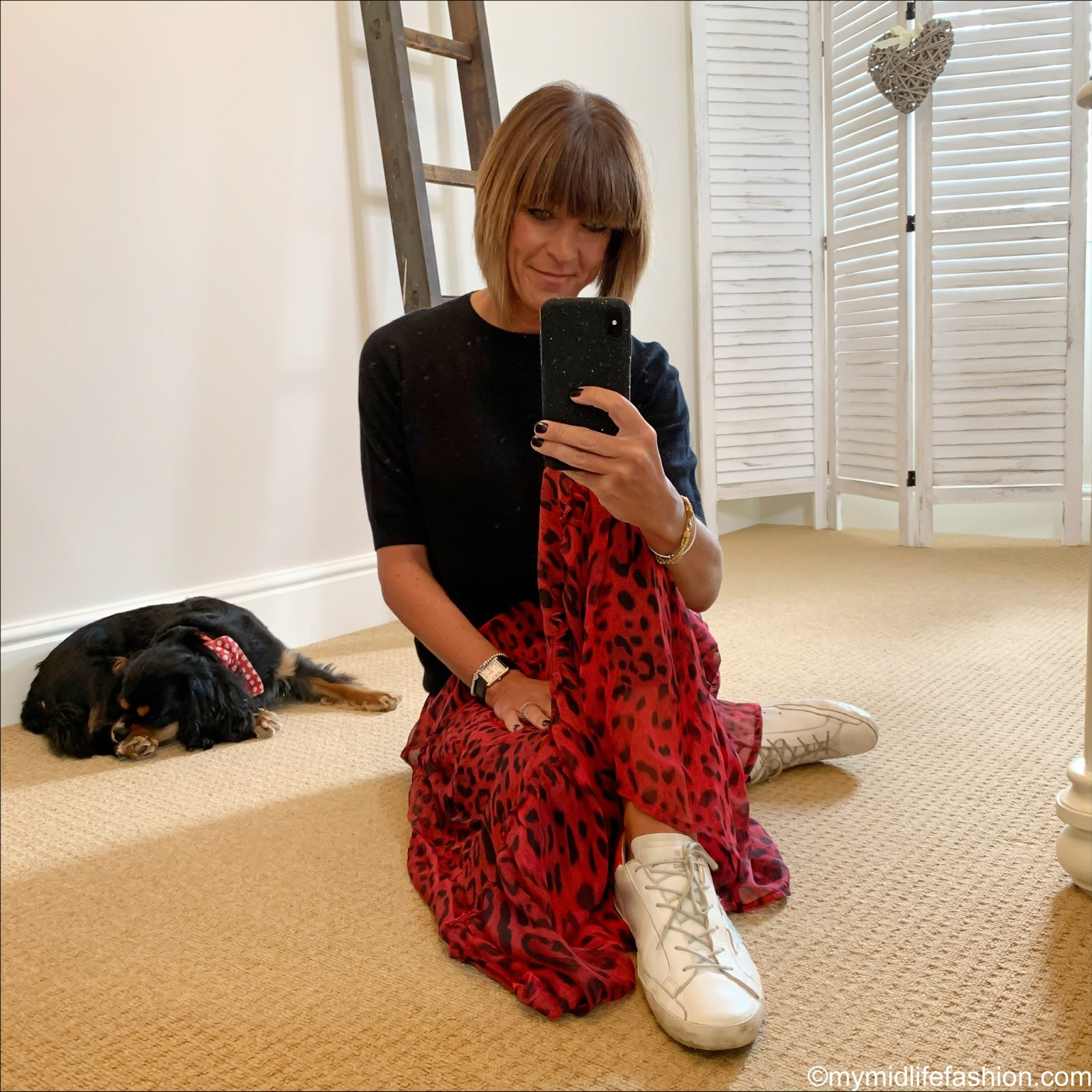 my midlife fashion, h and m cashmere round neck jumper, Ridley London leopard print silk tiered maxi skirt, golden goose superstar low top leather trainers