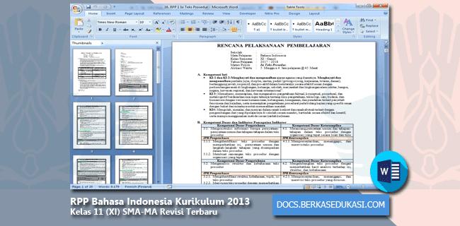 RPP Bahasa Indonesia Kurikulum 2013 Kelas 11 (XI) SMA-MA Revisi Terbaru Tahun 2019-2020