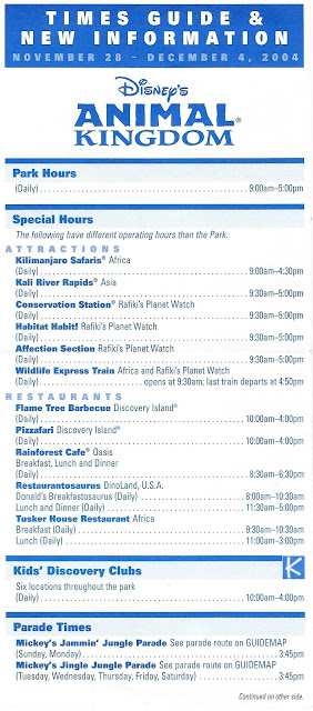 Times Guide Disney's Animal Kingdom November 28 December 4 2004