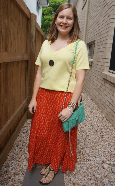pastel yellow tee with red boho print maxi skirt and aquamarine mini mac bag | away from blue