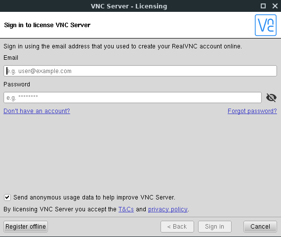 RealVNC server - sign in