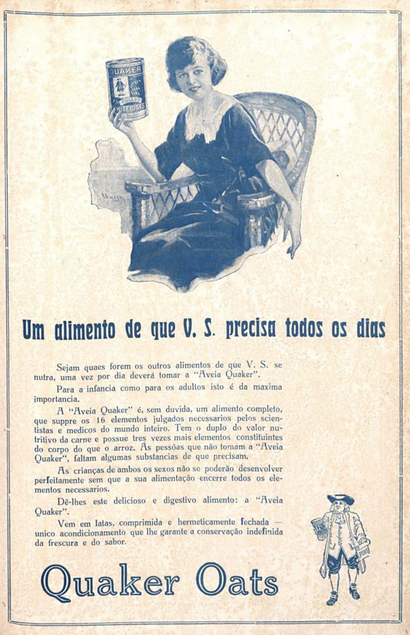 Anúncio de 1923 promovia a Aveia Quaker para alimentação de crianças e adultos
