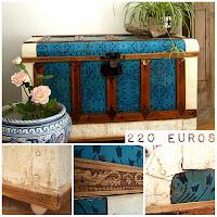Tienda de baúles, cajas, maletas y arcones antiguos. Baúl vintage estilo rústico y nórdico de madera y chapa metálica