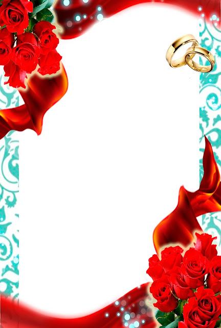 Tarjeta de Invitación para Bodas Turquesa con Rosas Rojas y Anillos