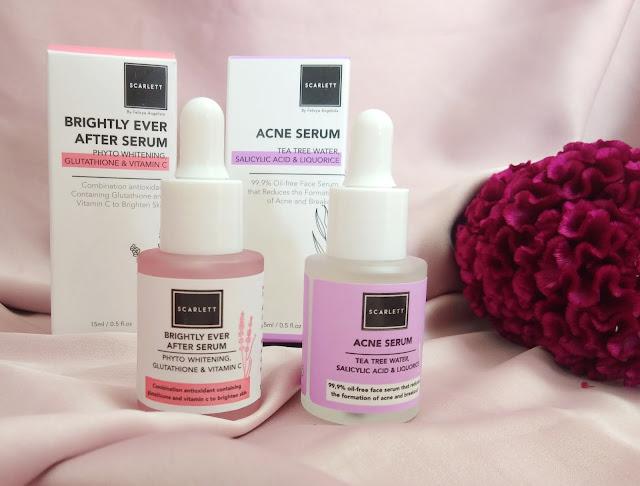 serum scarlett whitening acne serum dan brightly after serum
