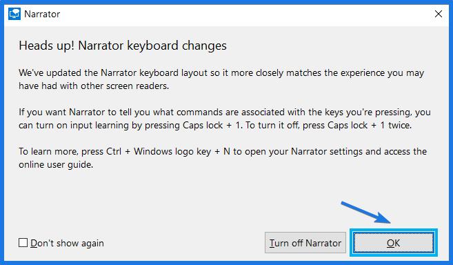 Windows Narrator Dialog box