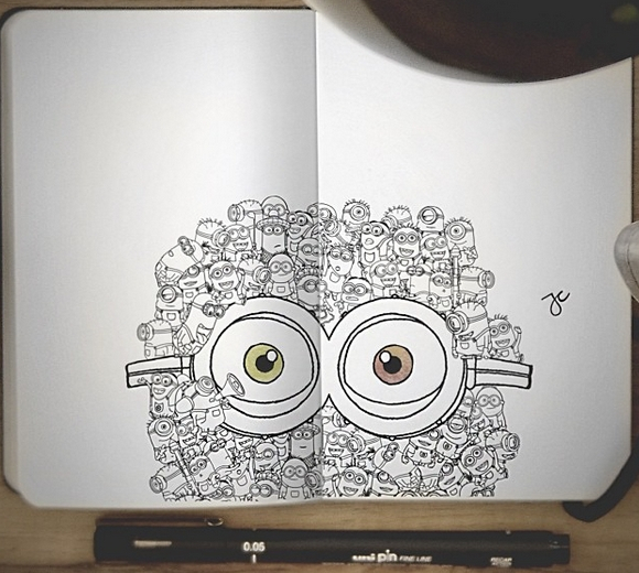 15-The-Minions-Joseph-Catimbang-Pentasticarts-Metaphysical-and-Surreal-Doodle-Drawings-www-designstack-co
