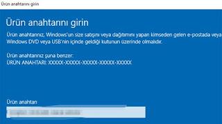 windows 10 ürün anahtarı girme