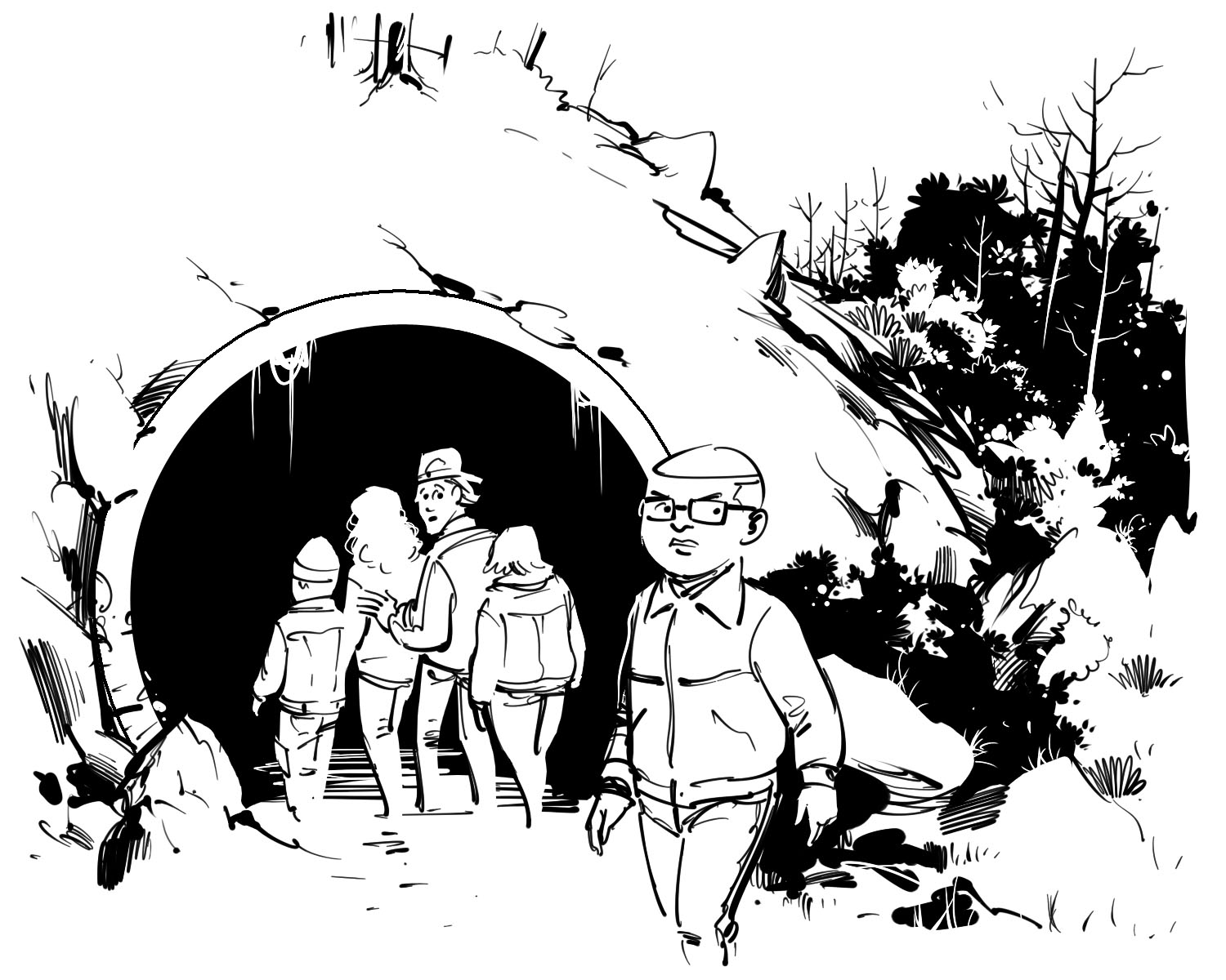 kids book boys and girls going inside tunnel detective story illustration