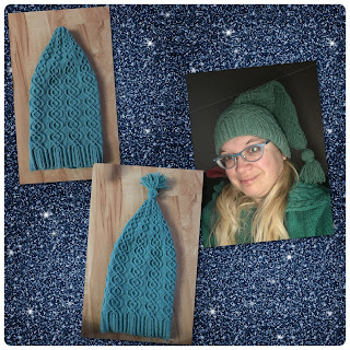 Collage of cabled stocking cap: finished, finished with tassel attached, and modeled by yours truly.
