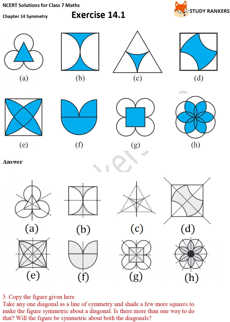 NCERT Solutions for Class 7 Maths Chapter 14 Symmetry Exercise 14.1 Part 5