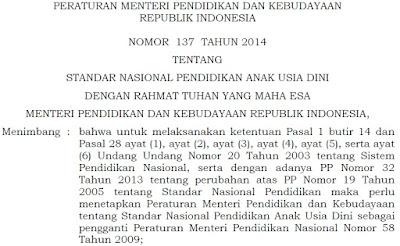 Permendikbud No. 137 Tahun 2014 tentang Standar Nasional Pendidikan Anak Usia Dini
