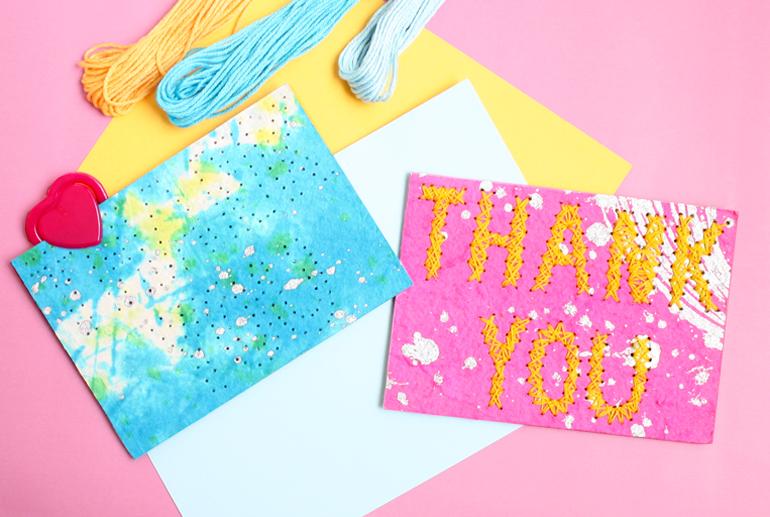 string art thank you notecard