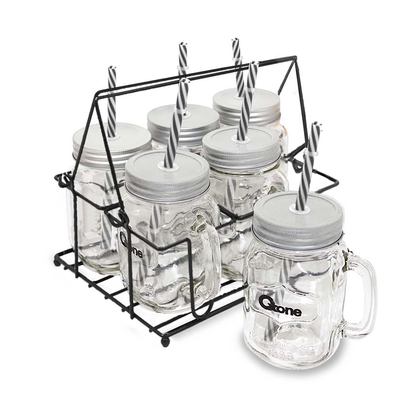 OX-021 6+1Pcs Classic Mason Mug with Rack Oxone