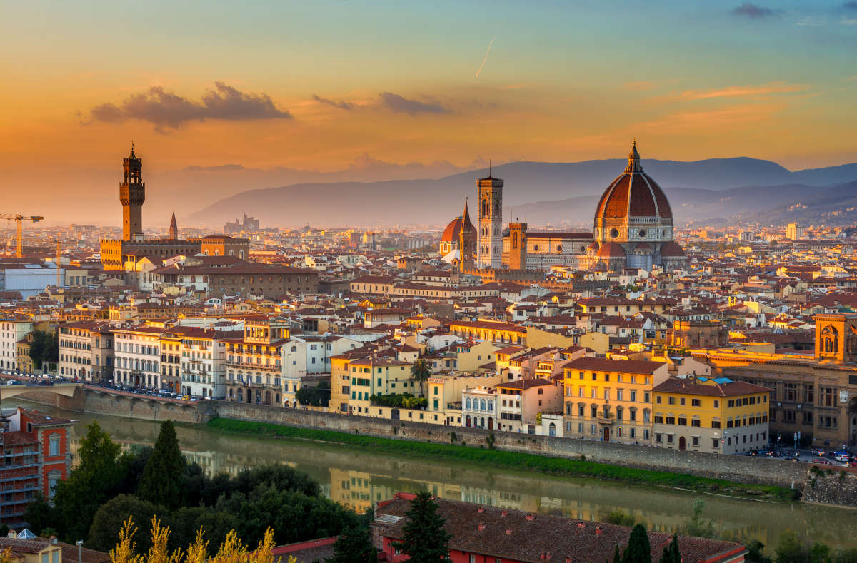 A sunset view of Florence and Duomo, Italy