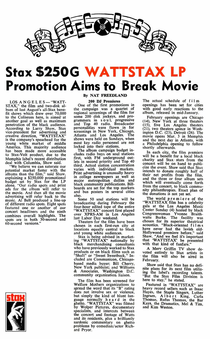 Stax WATTSTAX LP Article February 1973