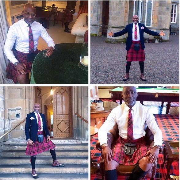 Richard Mofe Damijo RMD wears a scottish kilt skirt