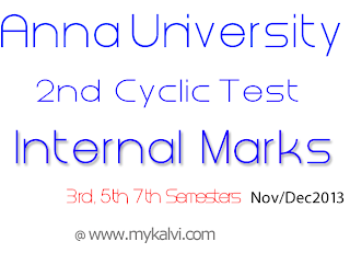 Anna university internal marks for 2nd cyclic test nov dec for 5th sem time table 2014