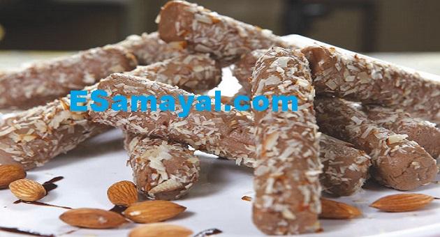 சாக்கோ ஆல்மண்ட் ரோல் செய்முறை | Choco Almond Roll Recipe !