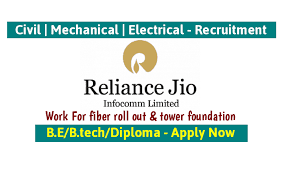 Reliance Jio is hiring Diploma Candidfates for Home Sales Officer for its Jio Fiber Project In Vadodara And Anand