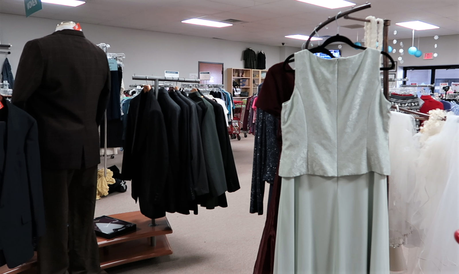 Bridal dresses at the thrift store.So, I was stoked when I walked into the thrift store and found a few bridesmaids and matron dresses. And can you believe nothing was over 40 dollars? But just as my luck runs, there was nothing in my size or style that was purple.
