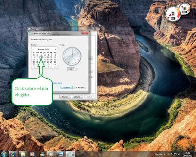 tutorial como cambiar fecha y hora en win 7 cañón montaña rio