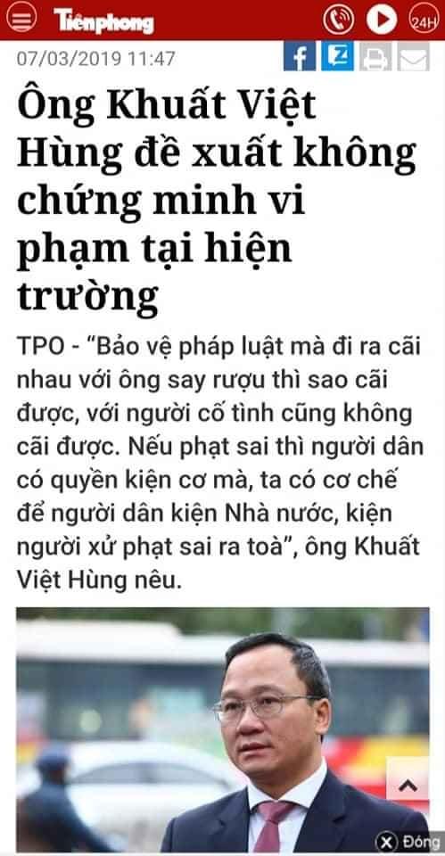 Xử phạt người vi phạm không cần chứng minh: Cú đánh dưới thắt lưng ông Khuất Việt Hùng?