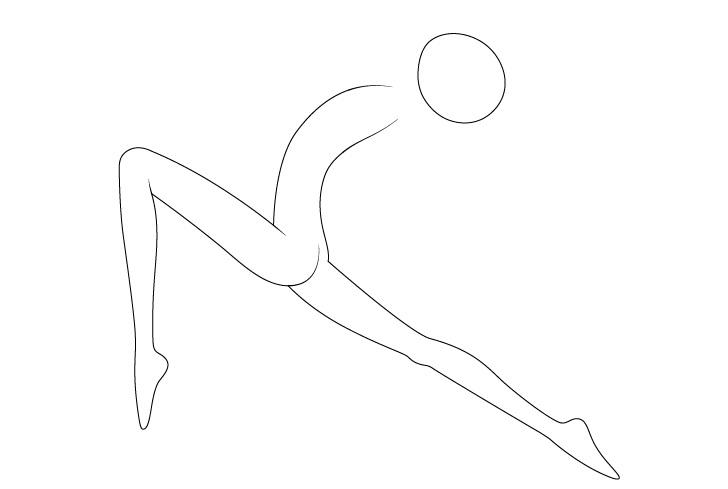 Anime balet berpose menggambar kaki