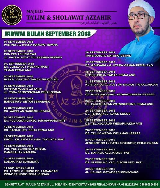 Jadwal Az Zahir Bulan September 2018 Terbaru
