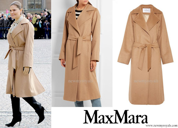 Crown Princess Victoria wore MAX-MARA Belted camel hair coat