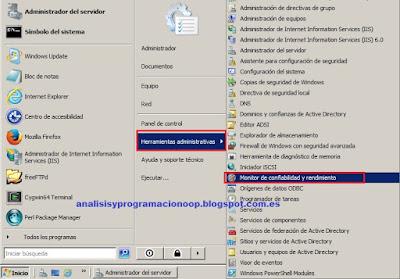 Monitor de confiabilidad y rendimiento de un sistema Windows Server
