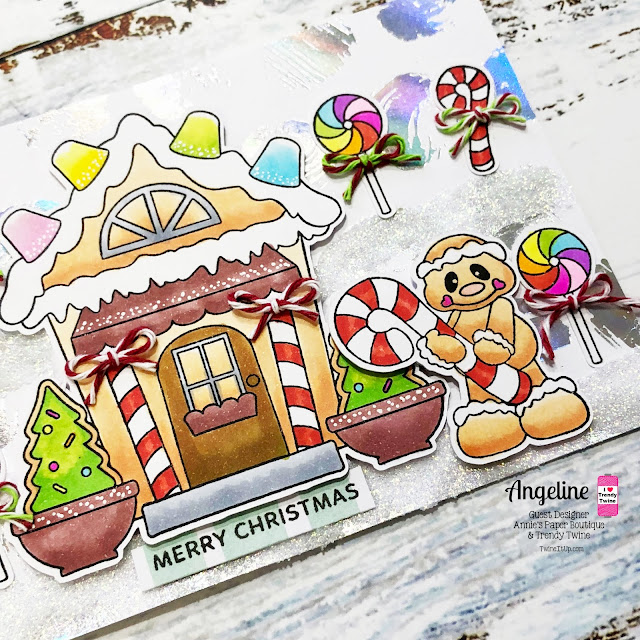 Trendy Twine: Gingerbread Christmas Mint Little Bits #trendytwine #scrappyscrappy #christmascard #christmas #gingerbread #gingerbreadhouse #copicmarkers #cardmaking #twine #merrychristmas