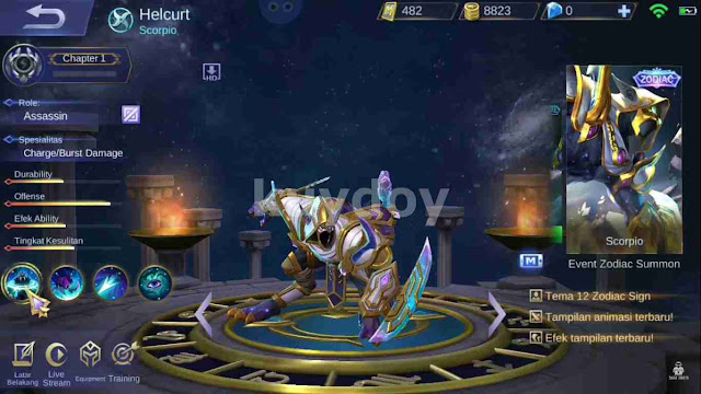 Script Skin Zodiac Helcurt Mobile Legends Work 100% Ranked Classic