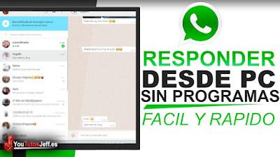 Responder los mensajes de whatsapp desde tu pc sin usar ningun tipo de programa, la mejor forma de ver los mensajes de whatsapp en tu PC.