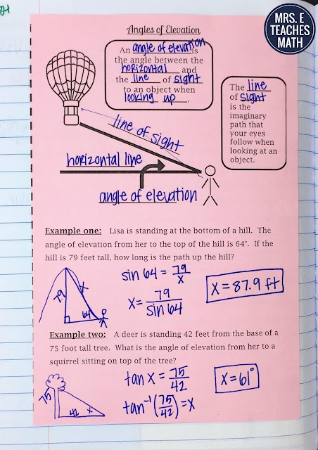 Angles of Depression and Elevation Interactive Notebook Pages