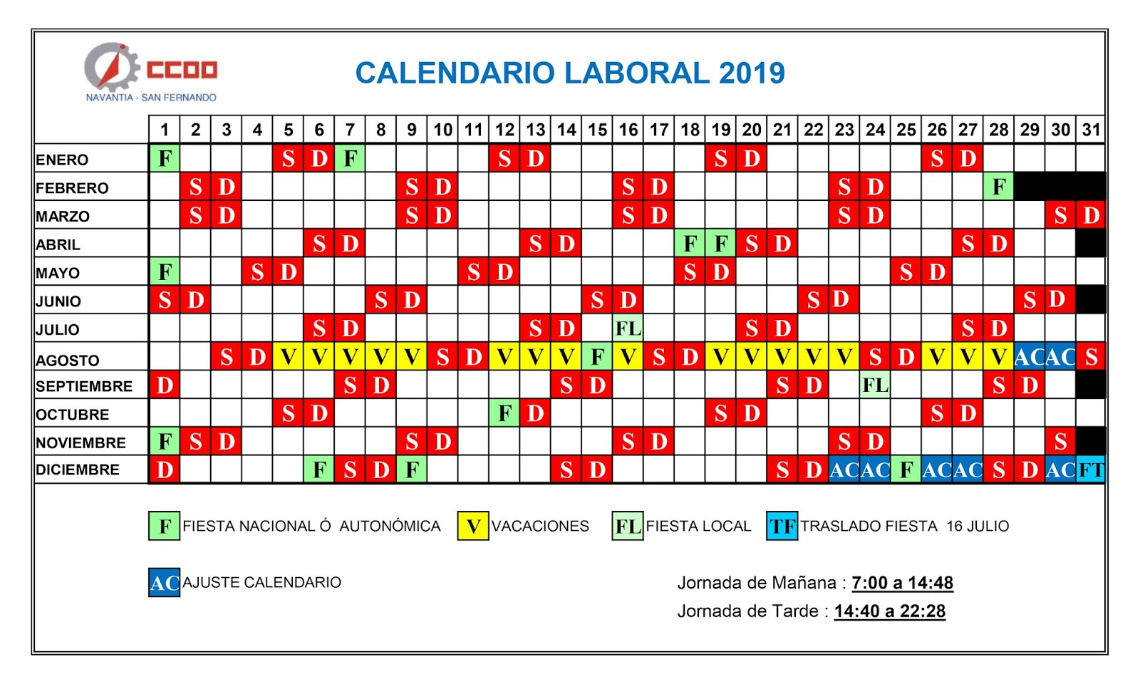 Calendario Laboral Construccion 2020.Ccoo Navantia San Fernando Calendario Laboral 2019