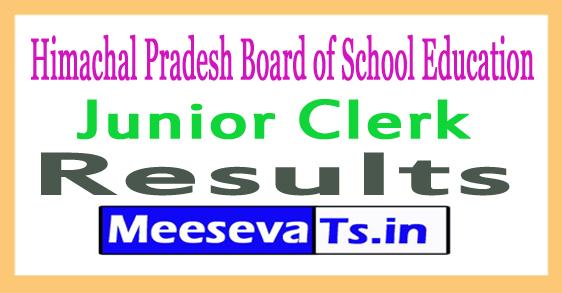 Himachal Pradesh Board of School Education Junior Clerk Result 2017