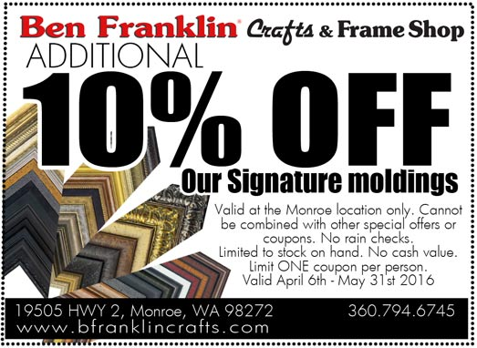 Ben franklin crafts and frame shop monroe wa unique for Ben franklin craft store coupons