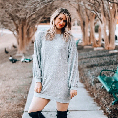 shein grey sweater dress embellished with pearls