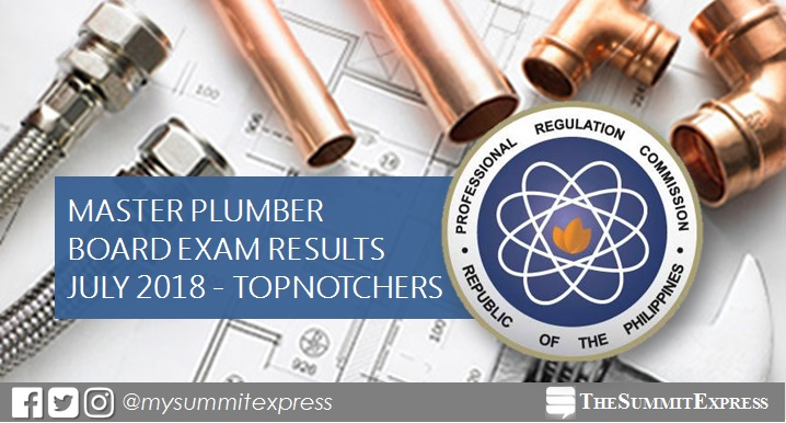 RESULT: July 2018 Master Plumber board exam top 10 passers