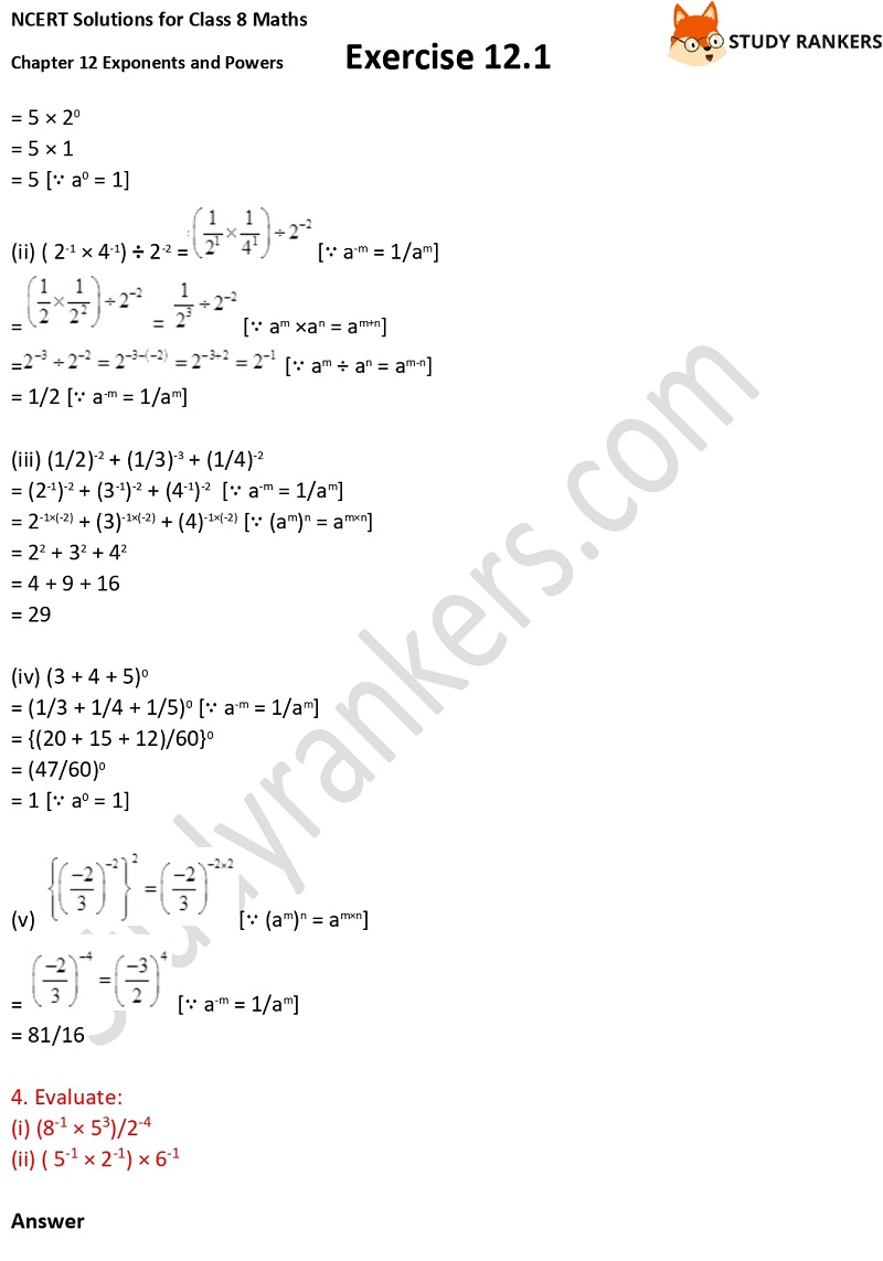 NCERT Solutions for Class 8 Maths Ch 12 Exponents and Powers Exercise 12.1 3