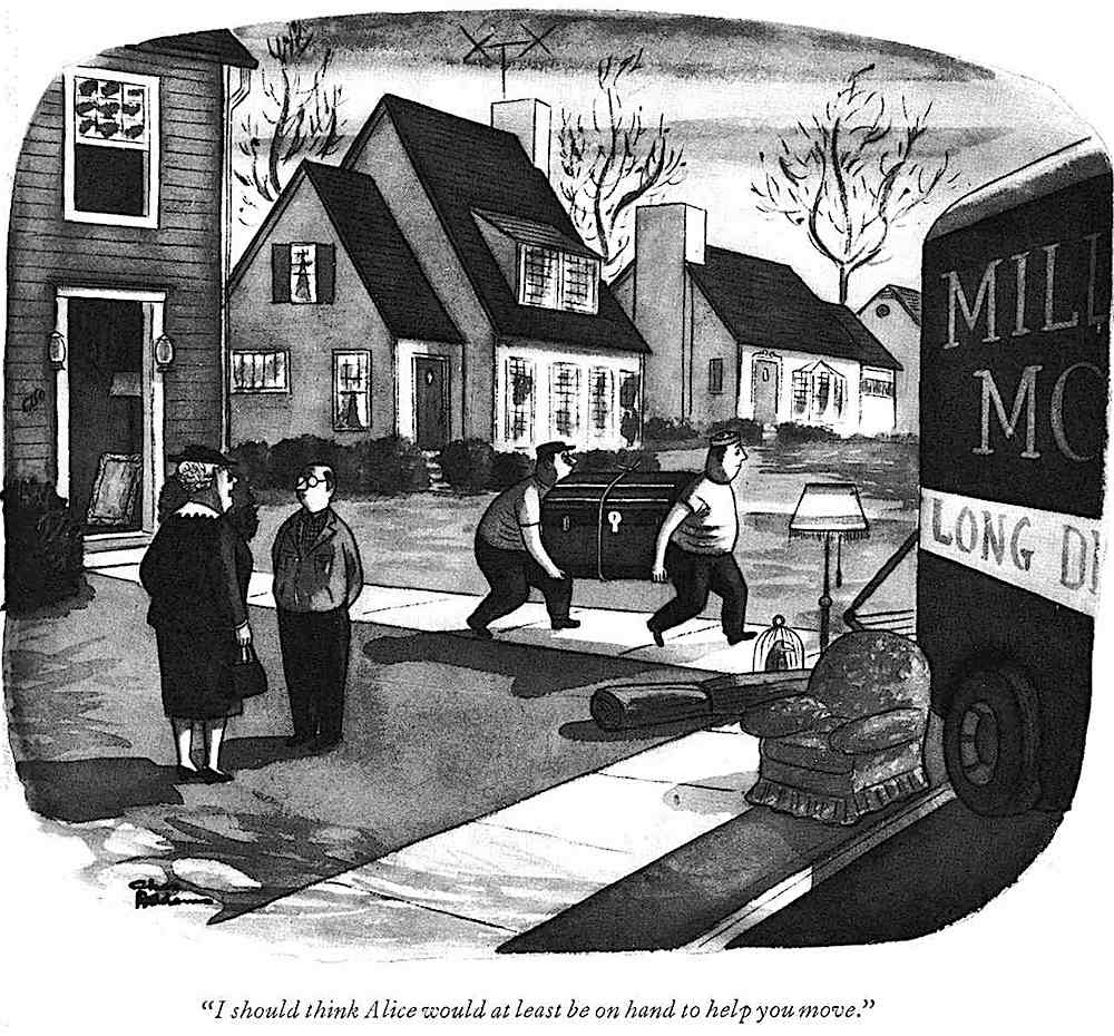 a Charles Addams cartoon about marriage murder moving day
